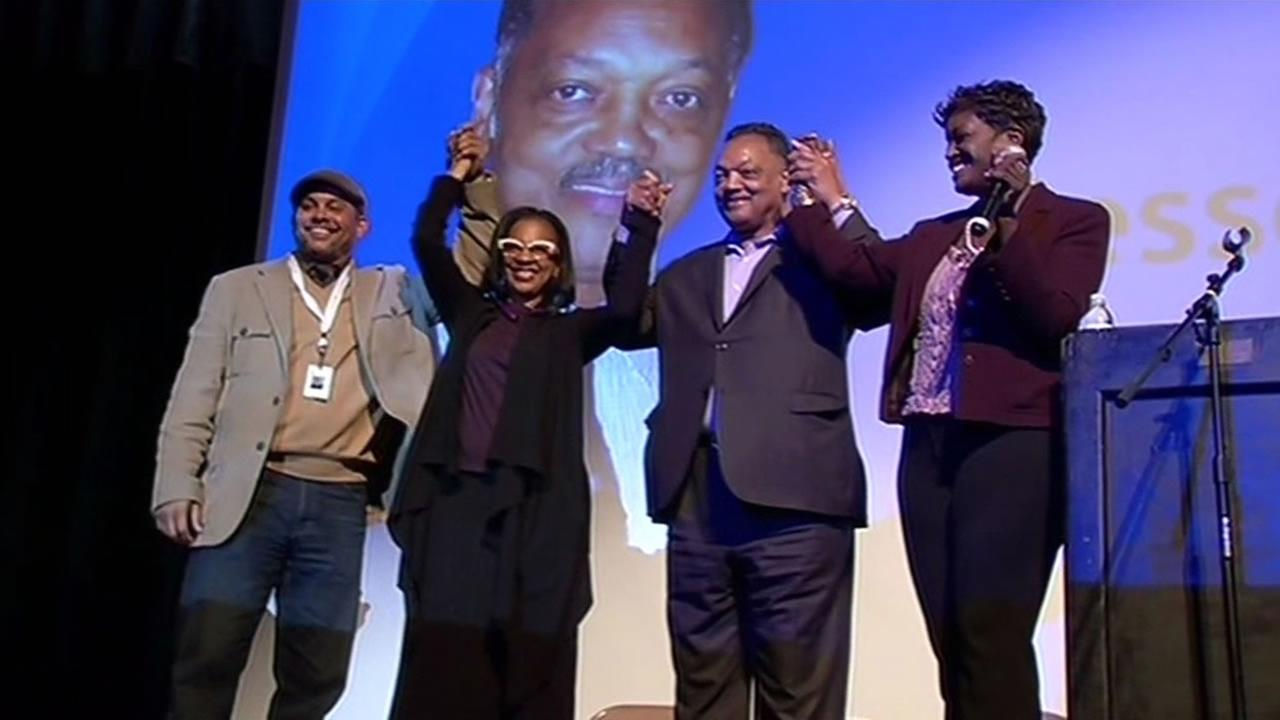 Civil rights leader Jesse Jackson encouraged Oakland Tech High School students to pursue careers in science, technology, engineering and math, May 27, 2015.