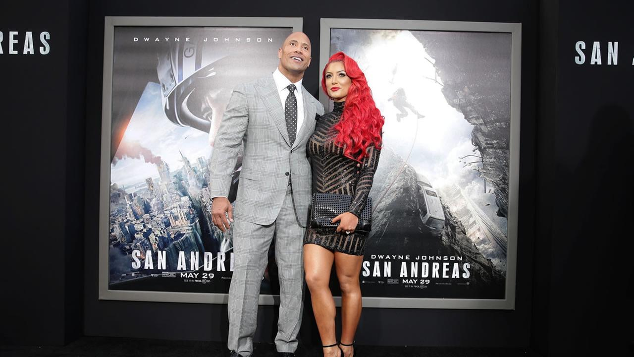 Dwayne Johnson and Eva Marie seen at New Line Cinema presents the Los Angeles World Premiere of San Andreas at TCL Chinese Theatre