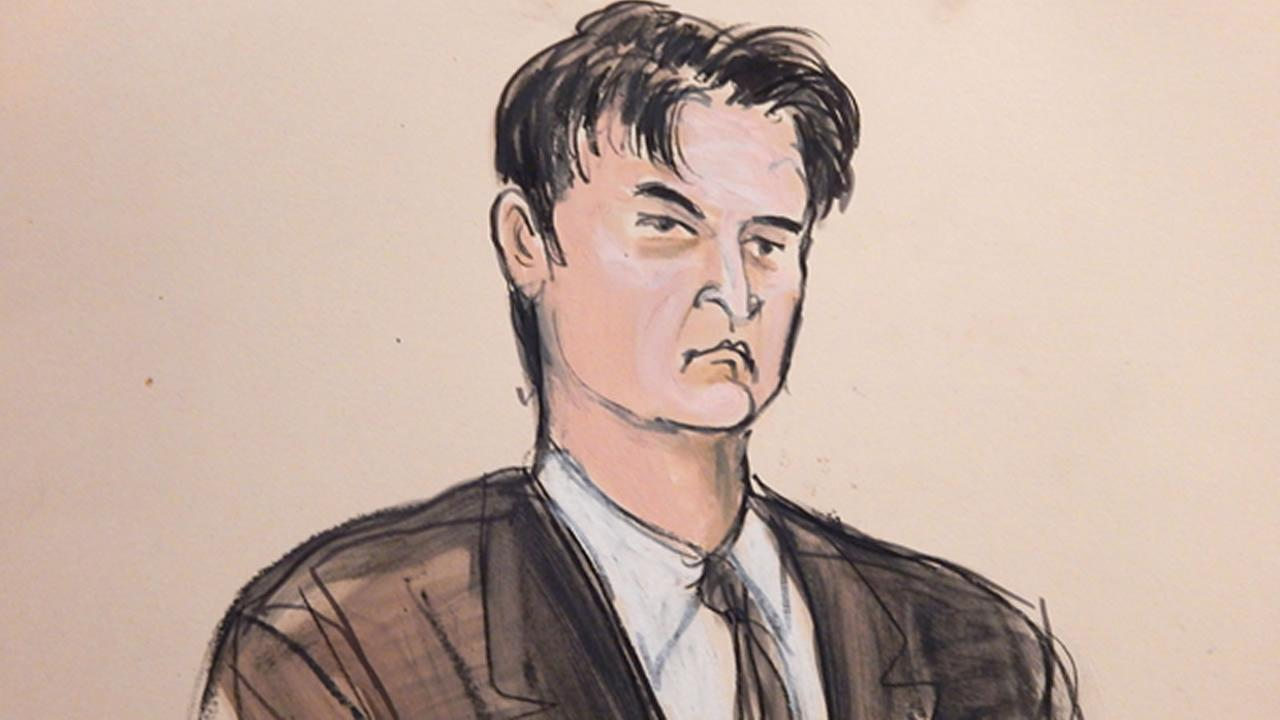 FILE - This Feb 4, 2015, sketch, shows defendant Ross William Ulbricht as the deputy recites the word guilty multiple times during Ubrichts trial in New York.  (AP Photo)