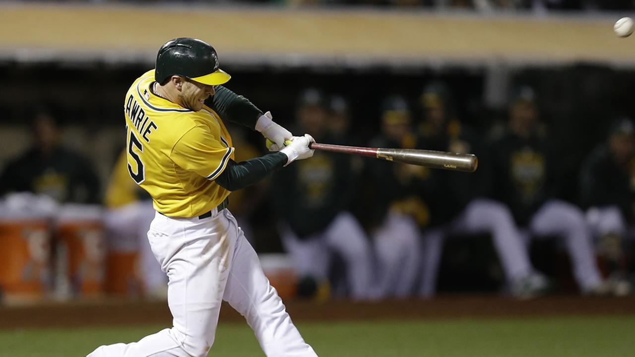Oakland As Brett Lawrie swings