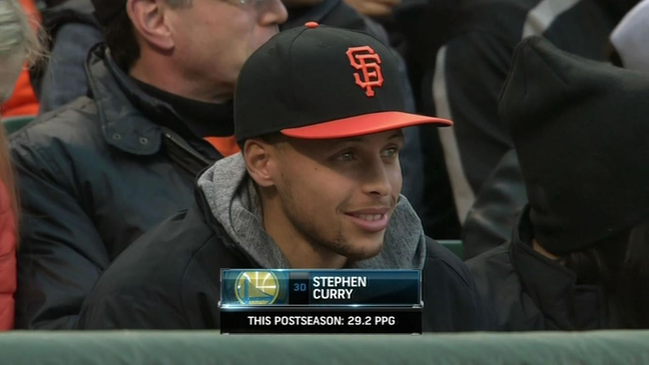 Warriors star Stephen Curry watches the Giants play the Atlanta Braves at AT&T Park in San Francisco, Calif. on Friday, May 29, 2015.