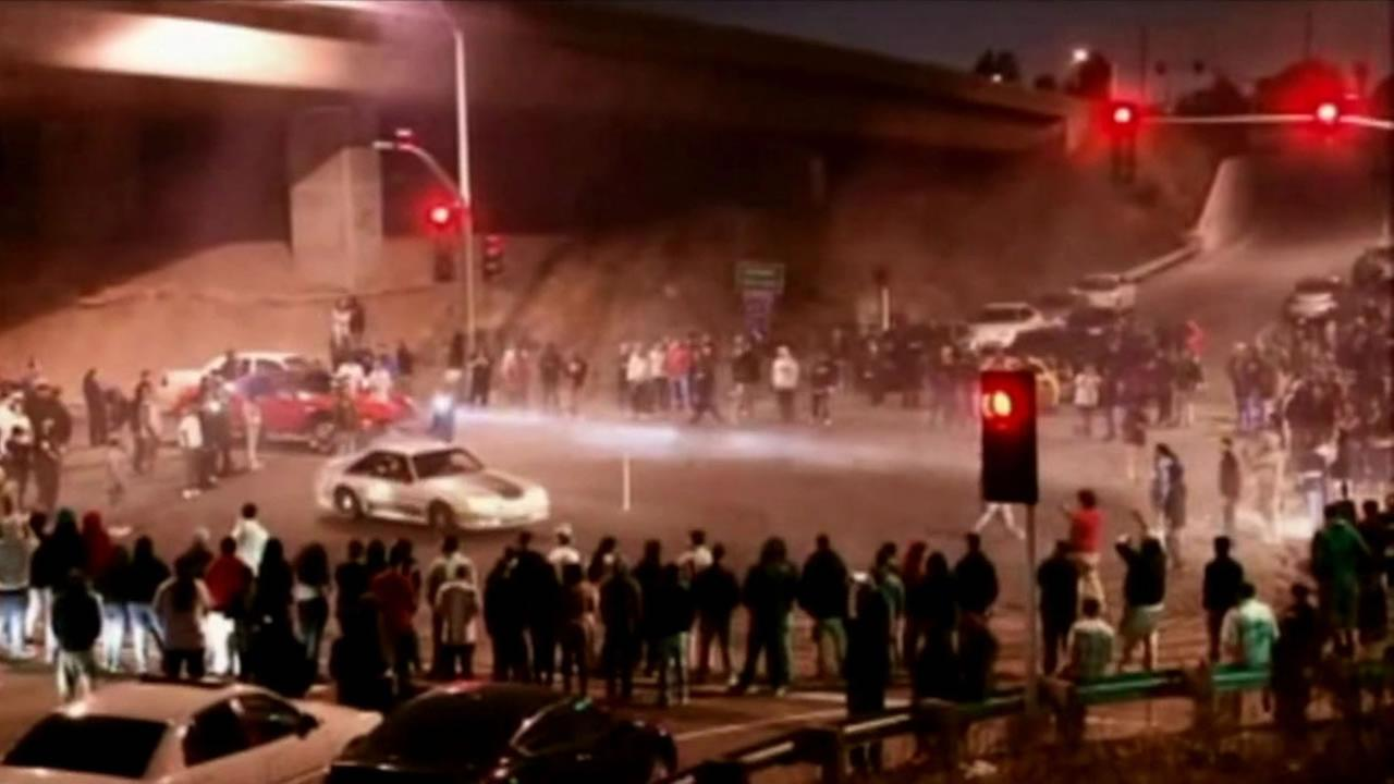 A sideshow took place at High Street and I-880 on May 29, 2015 in Oakland, Calif.