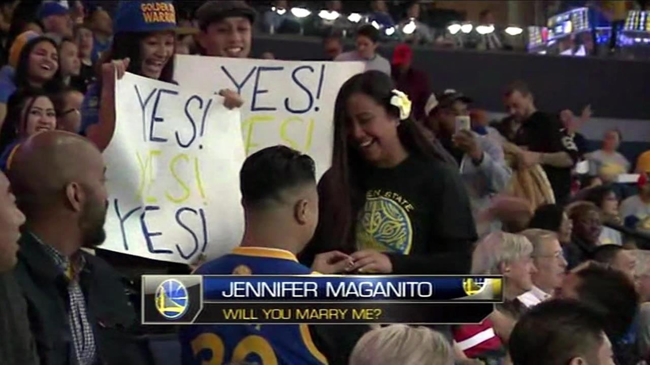 Glen Canilao Jr. proposed to his girlfriend Jennifer Maganito at a Golden State Warriors game in Oakland, Calif. on April 9, 2015.