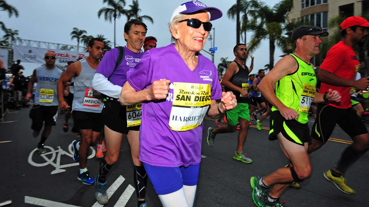 In this photo provided by Competitor Group, Harriette Thompson starts the Suja Rock n Roll Marathon in San Diego on Sunday, May 31, 2015. (Paul Nestor/Competitor Group via AP)