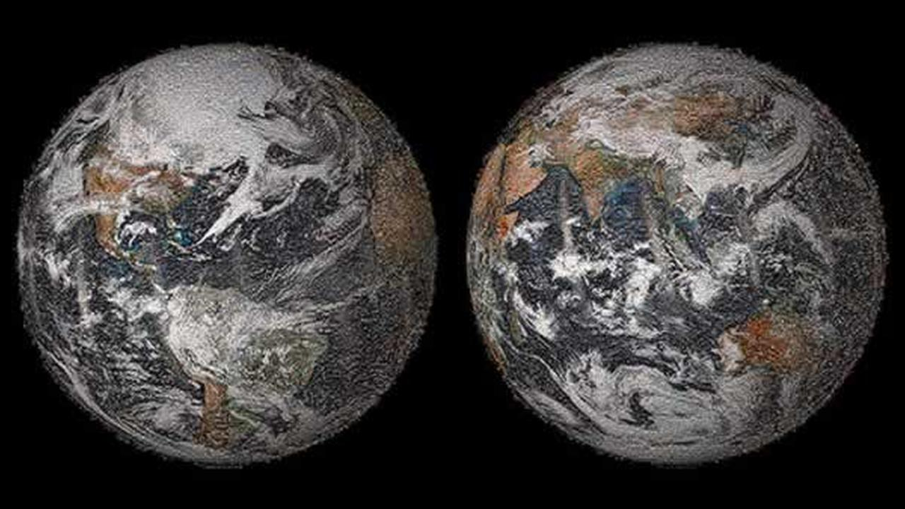 A low-resolution preview of the 3.2-billion-pixel sized NASA Earth Day Global Selfie 2014 photo mosaic.