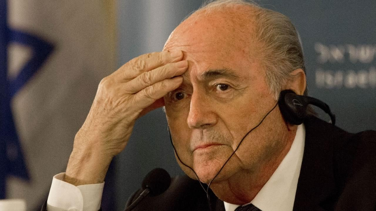 FIFA President Sepp Blatter attends a press conference in Jerusalem.