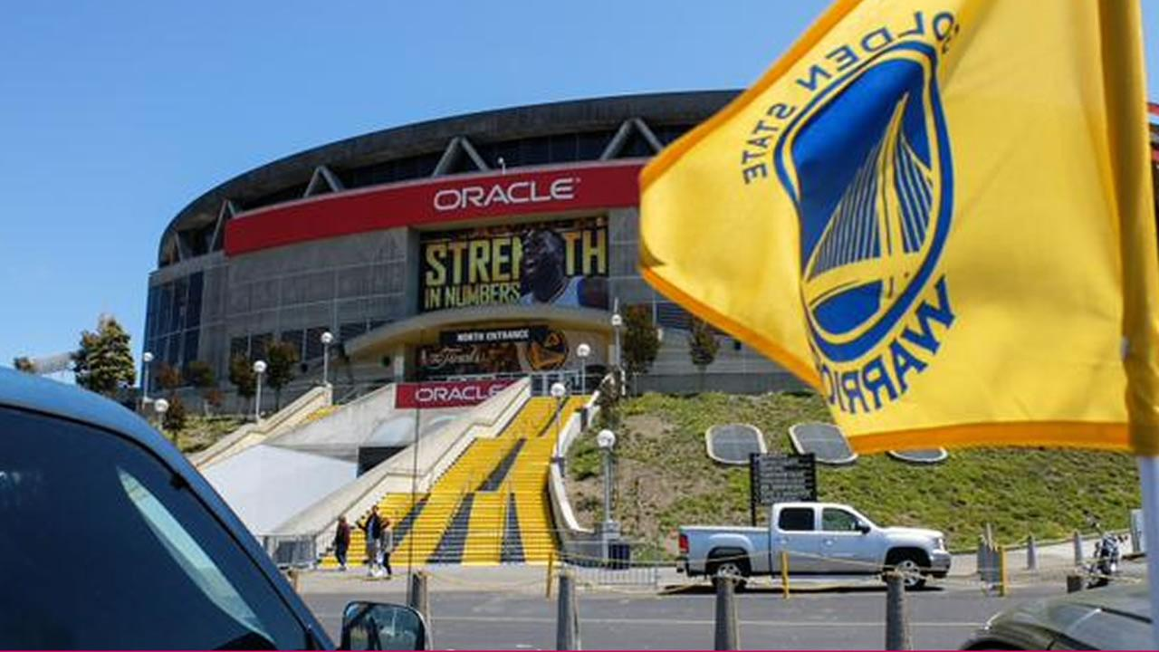 Preparations are underway at Oracle Arena ahead of Thursdays Game 1 of the NBA Playoff Finals against the Cleveland Cavaliers, June 2, 2015.