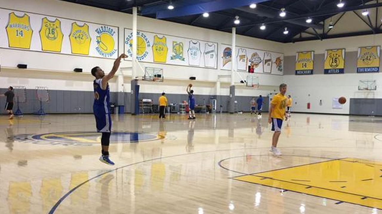 Preparations are underway at Oracle Arena ahead of Thursdays Game 1 of the NBA Playoff Finals against the Cleveland Cavaliers, June 2, 2015. KGO-TV