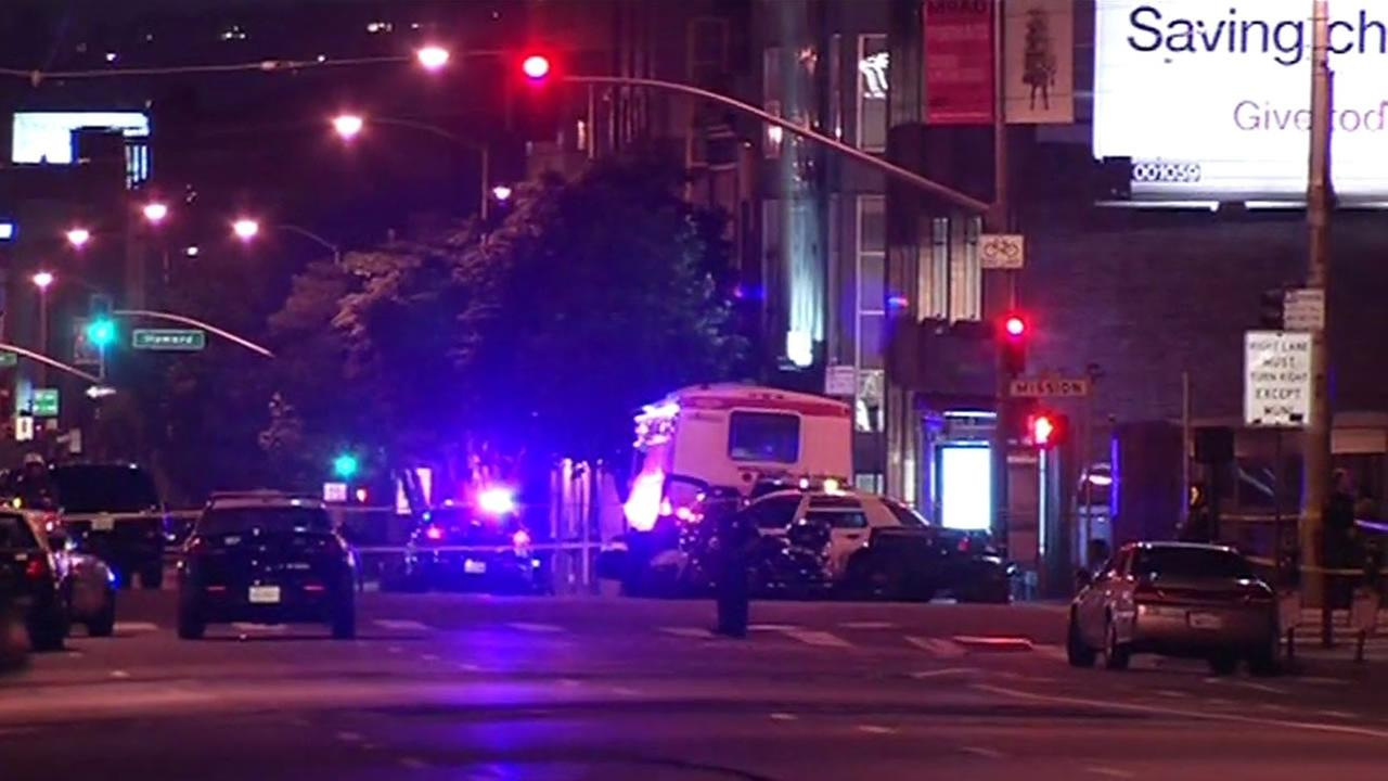 A pedestrian was struck during a police pursuit of a robbery suspect at 8th and Mission streets, June 2, 2015.
