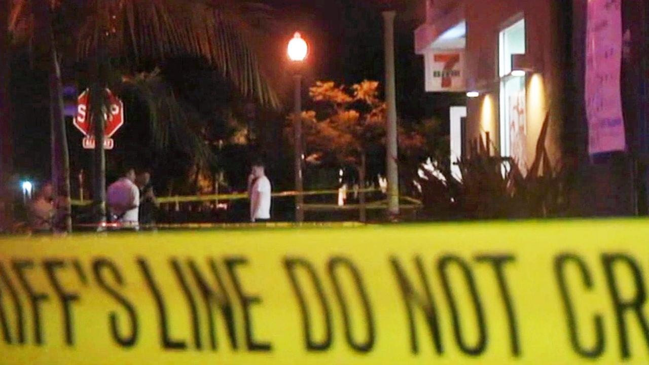 Crime tape near scene of shooting attack in Isla Vista, California.