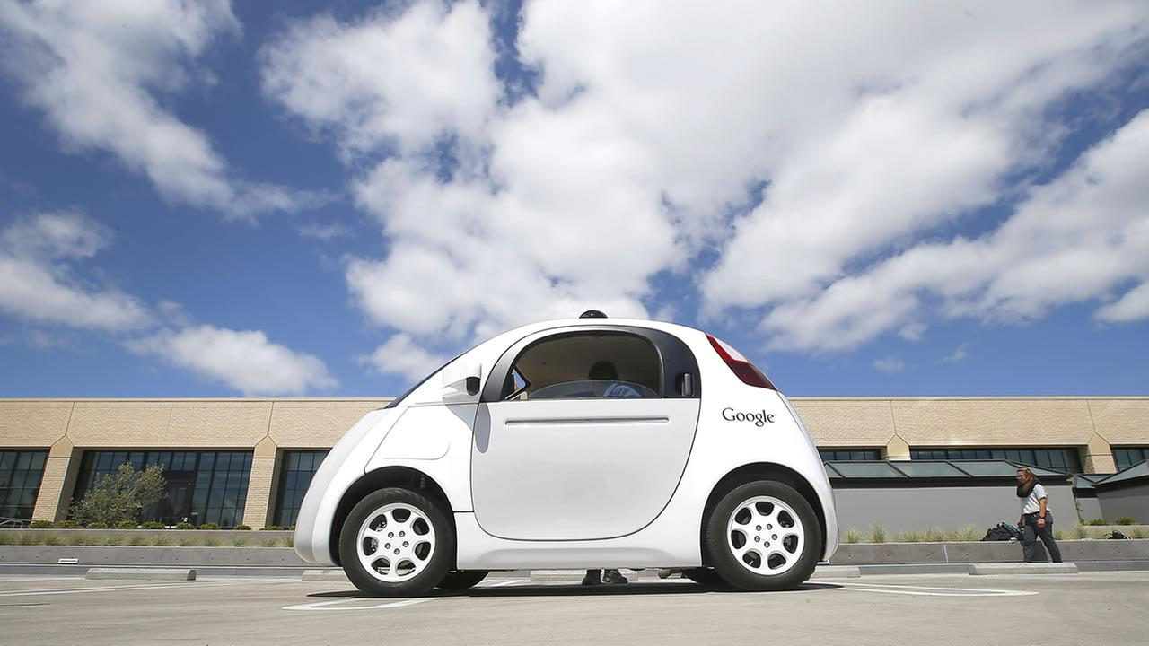 In this May 13, 2015 photo, Googles new self-driving prototype car is presented during a demonstration at the Google campus in Mountain View, Calif.