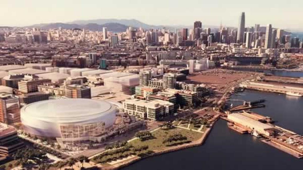 This is an artists rendition of the proposed Warriors Stadium in San Franciscos Mission Bay neighborhood.