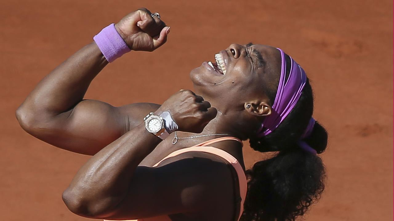 Serena Williams of the U.S. celebrates winning the final of the French Open tennis tournament against Lucie Safarova of the Czech Republic in Paris, France, Saturday, June 6, 2015.
