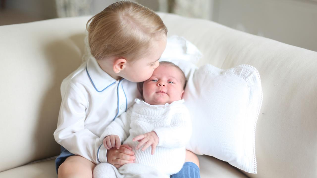 This photo of Britains Princess Charlotte, held by her brother Prince George, was released by Kensington Palace Saturday, June 6, 2015.Duchess of Cambridge via AP