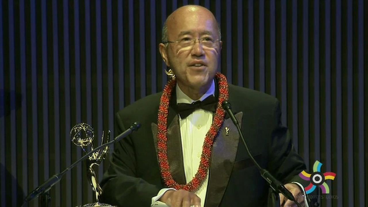 ABC7s David Louie received the Governors Award at the Northern California Emmy Awards in San Francisco, Saturday, June 7, 2015.