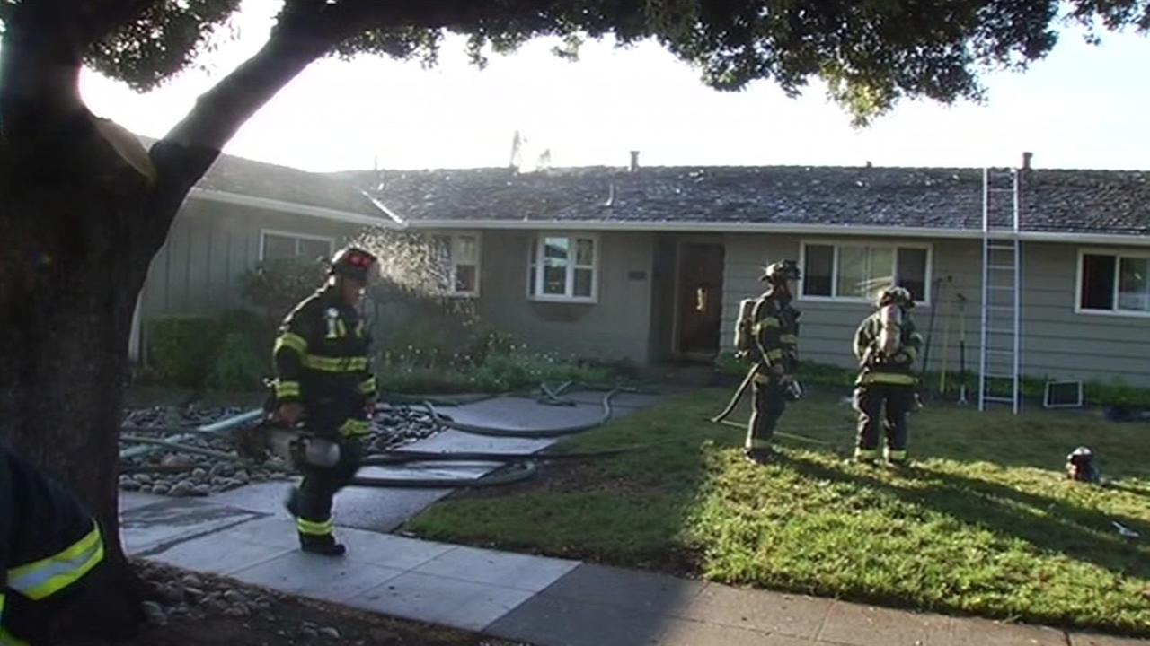 Three people have been displaced after a after a two-alarm fire broke out at a home on El Paseo Drive in San Jose on Monday, June 8, 2015.
