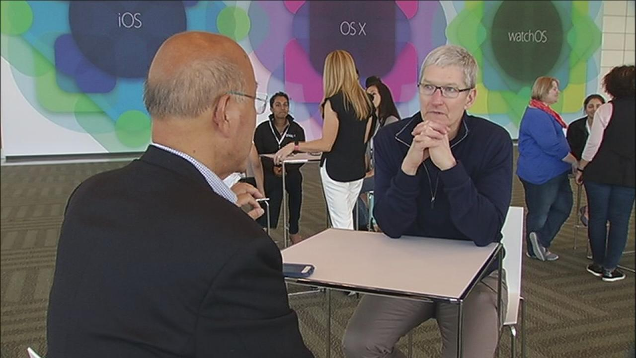 ABC7 News reporter David Louie sat down for a rare one-on-one interview with Apple CEO Tim Cook in San Francisco on June 7, 2015.