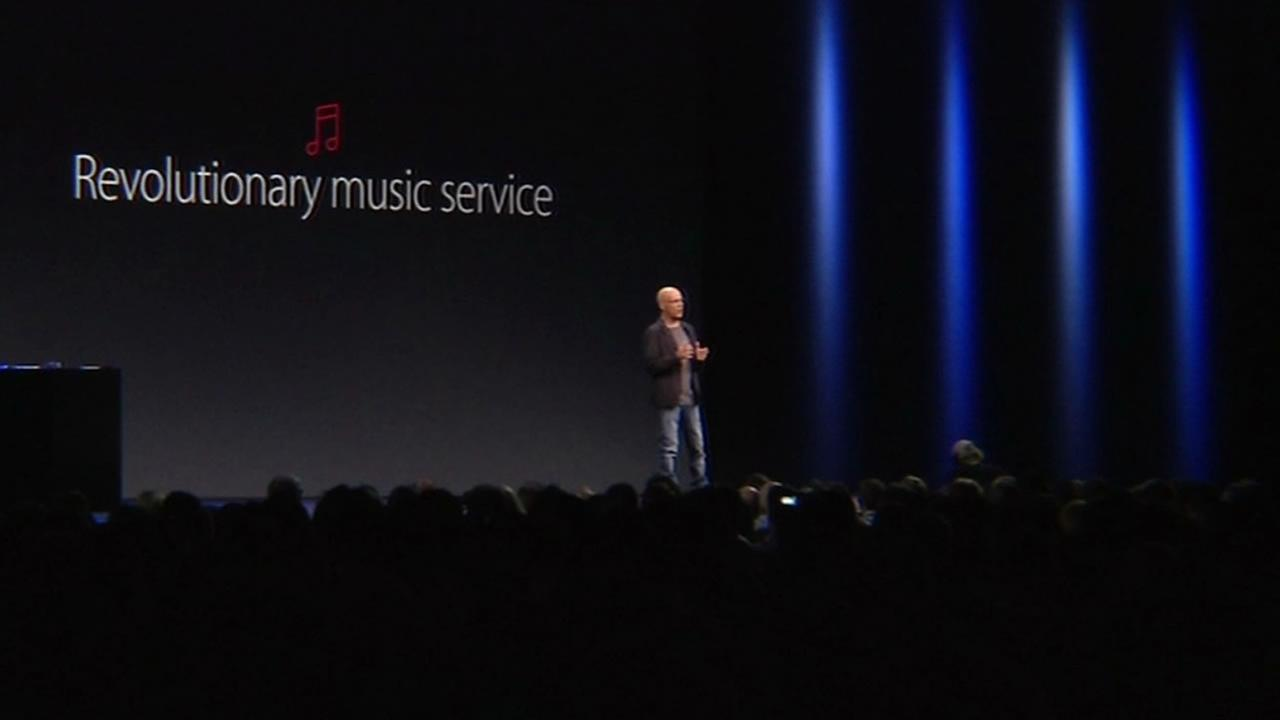 Interscope Records co-founder Jimmy Iovine talks about Apple Music at Worldwide Developers Conference at Moscone Center in San Francisco June 8, 2015.