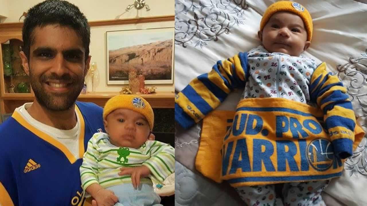 This 2-month-old Warriors fan will soon undergo heart surgery. His father says hes still supporting the Warriors through thick and thin! Photo submitted to KGO-TV by Hamid G./uReport