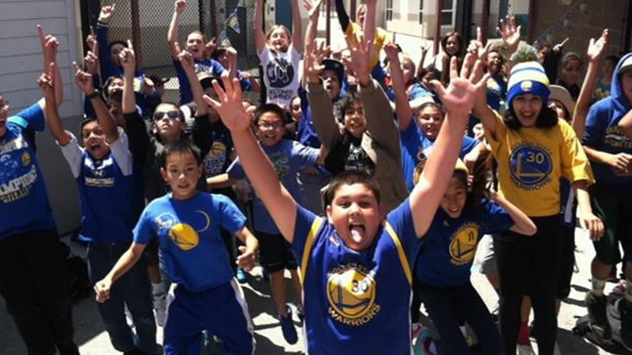 Students at Ingrid B. Lacy Middle School in Pacifica, Calif. were excited to wear their gear and show off their Dub Nation spirit for Warriors Day! Photo submitted to KGO-TV via uReport