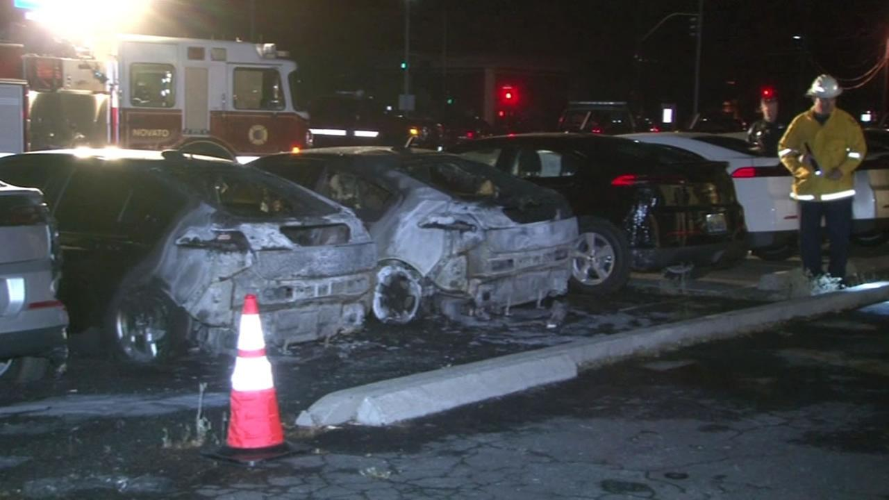 Novato police are investigating after a fire broke out at a dealership on Redwood Boulevard on Monday, June 8, 2015.