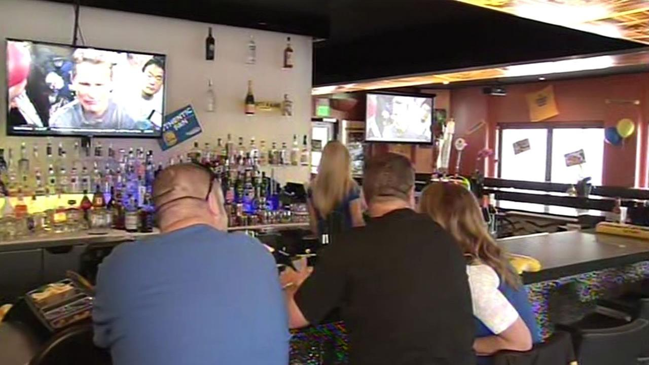 Napkins Bar and Grill in Napa, Calif. is hosting a big NBA Finals watch party ahead of Game 3 against the Cleveland Cavaliers on Tuesday, June 9, 2015.
