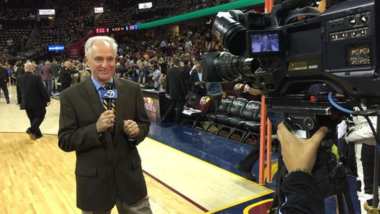 ABC7 News Mike Shumann on the court of Quicken Loans Arena for Game 3 of the NBA Finals against the Cavaliers Tuesday, June 9, 2015 in Cleveland, Ohio.KGO-TV