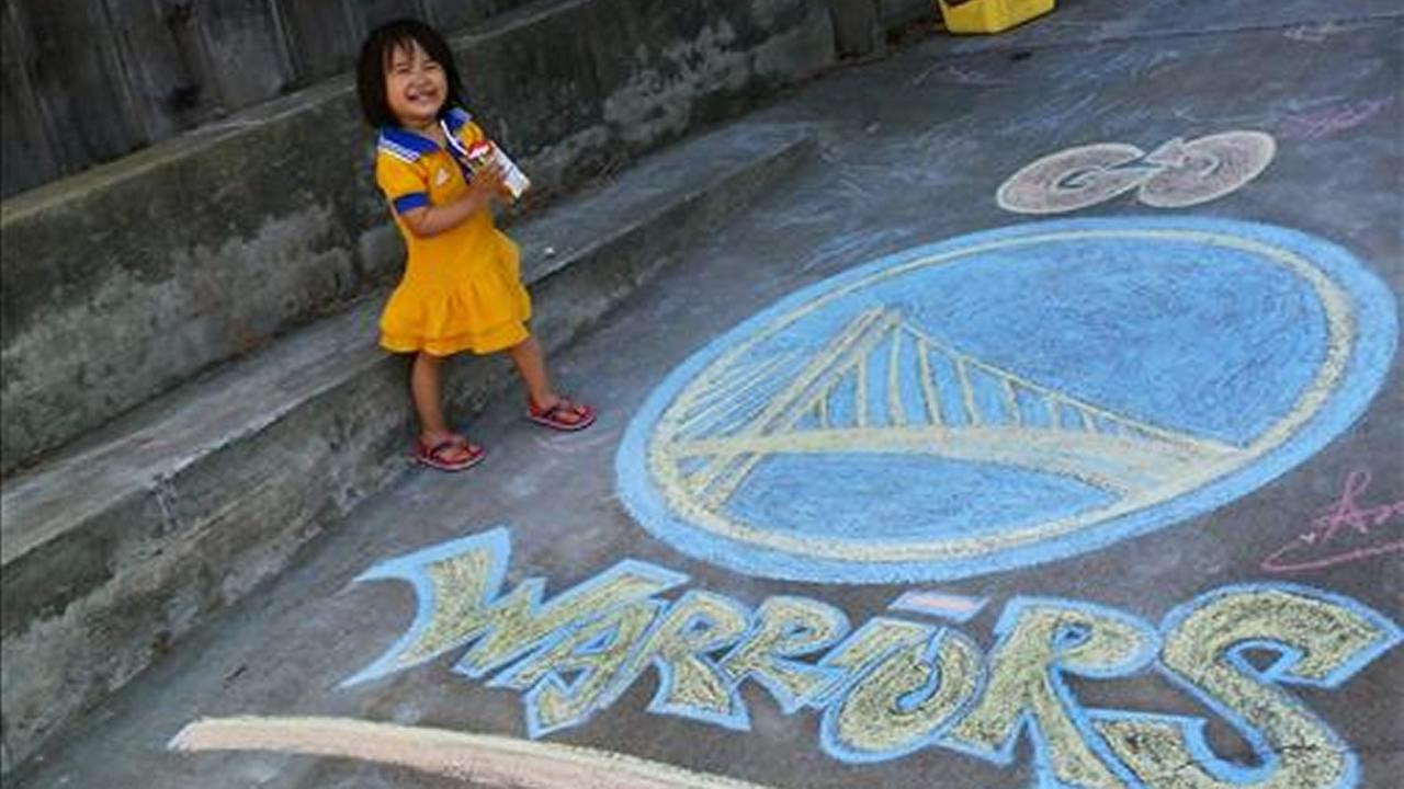 Little Atana Rose with Warriors chalk artwork ahead of Game 4. Tag your photos on Facebook, Twitter, Google Plus or Instagram using #DubsOn7. Photo submitted to KGO-TV by Amanda Christine Hallinan/uReport