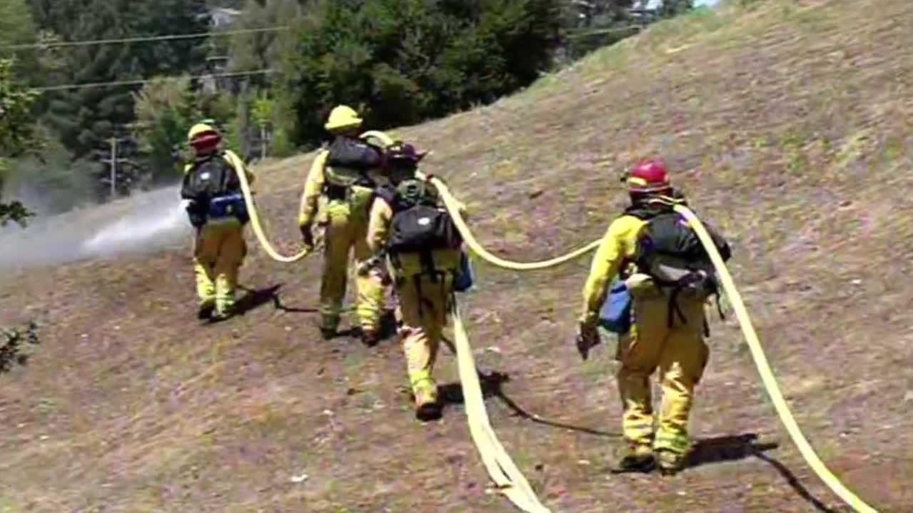 Firefighters are training for what is expected to be a very busy fire season on Thursday, June 11, 2015 in Mill Valley, Calif.