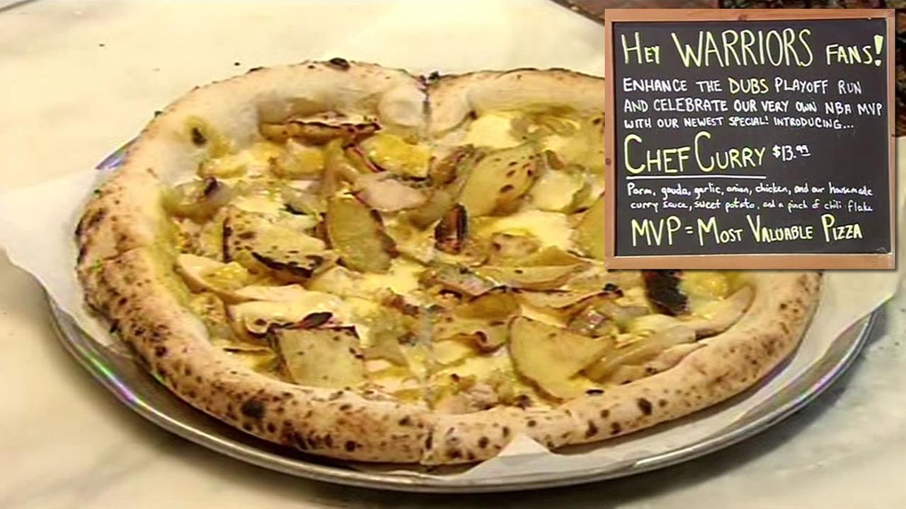 San Jose restaurant Pizza Bocca Lupo is serving a special Warriors-themed pizza called the Chef Curry, the Most Valuable Pizza.