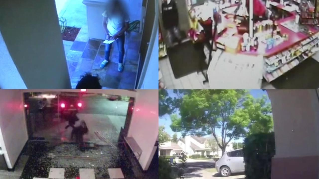 FILE -- Stills from security videos from Bay Area crime.
