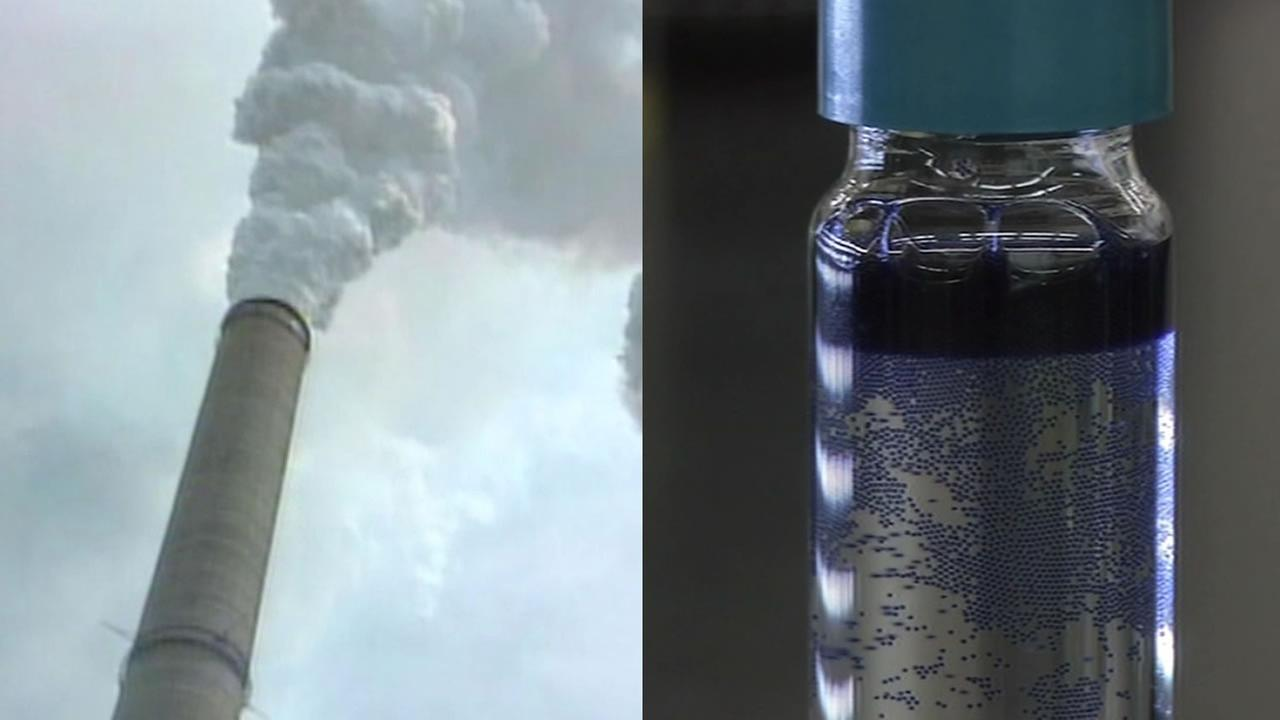 CO2 emission cloud from a power plant and microcapsules in soda