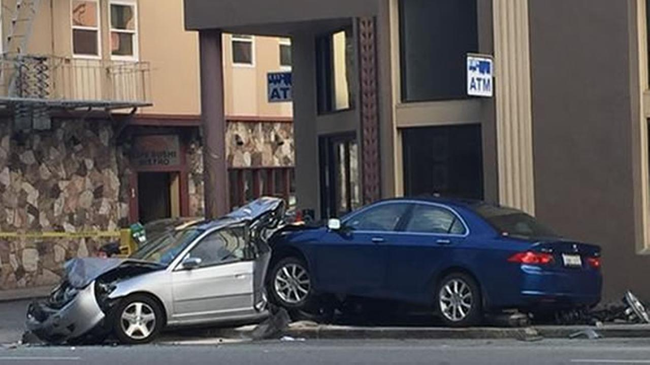A driver was taken to the hospital with life-threatening injuries after crashing into a cafe in San Francisco on Sunday, June 13, 2015.