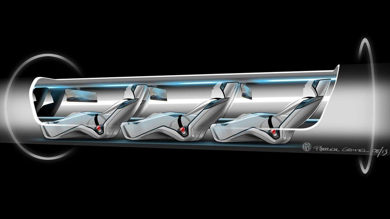 This conceptual design rendering provided by SpaceX shows a Hyperloop passenger transport capsule within a tube. (SpaceX via AP)