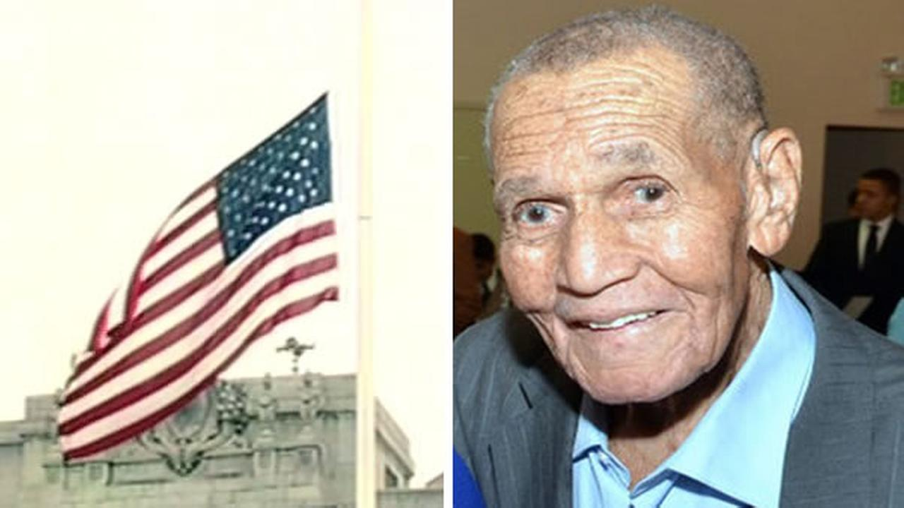 The flag at San Franciscos City Hall flew at half-staff on Monday, June 15, 2015 in honor of long-time labor leader Leroy King, who died at age 91.