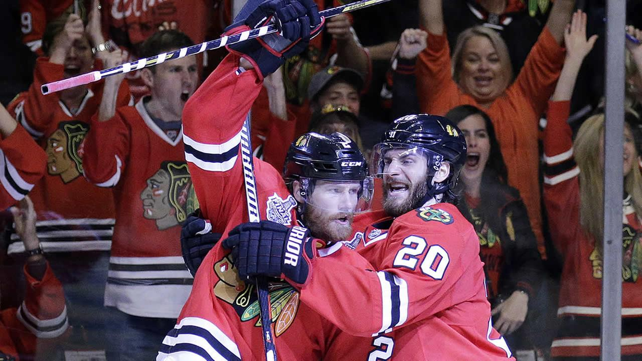 Chicago Blackhawks Duncan Keith and Brandon Saad
