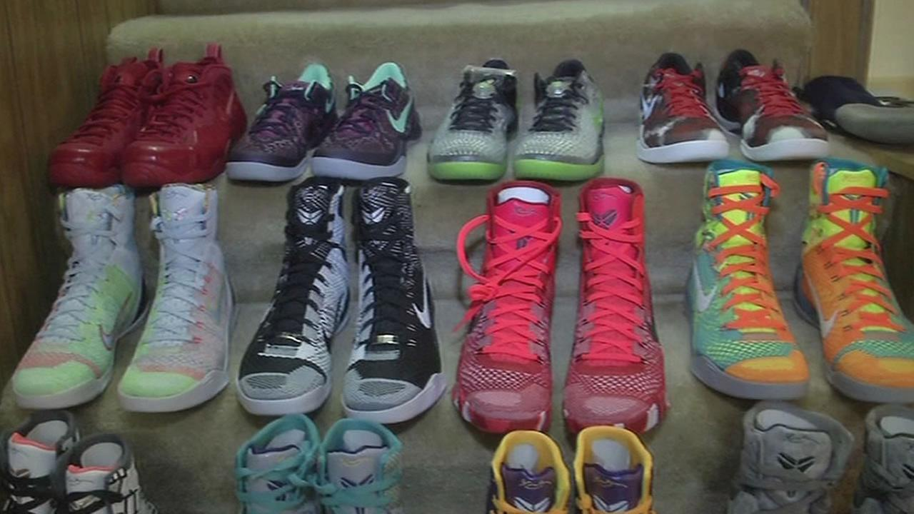 Nicholas Song of Oakland shows 7 On Your Side his collection of rare sneakers.