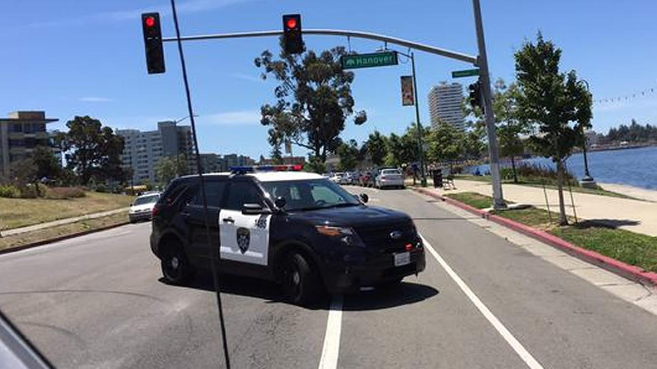 Police blocked Lakeshore Drive following a shooting near E. 18th on the east side of  Lake Merritt in Oakland, Calif. on Friday, June 19, 2015.