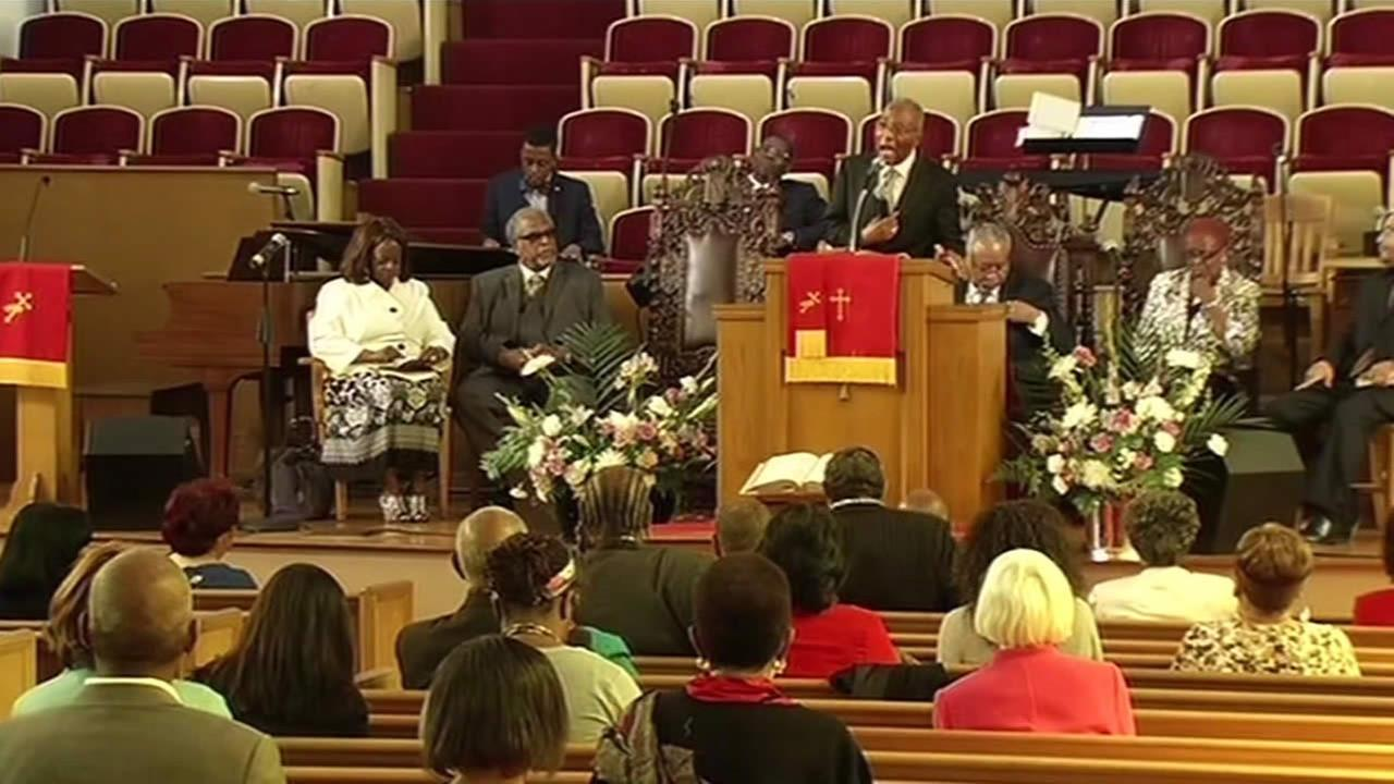 Rev. Amos Brown speaks during a prayer vigil at Third Baptist Church in San Francisco on June 21, 2015.