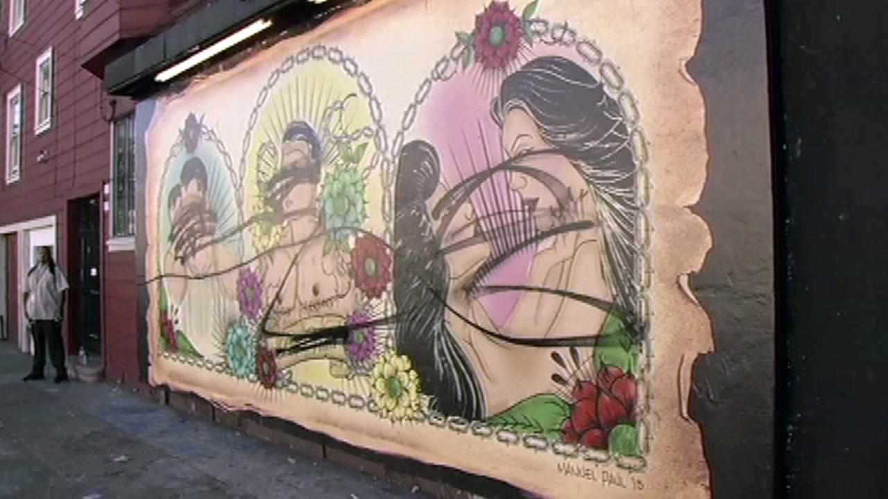 Mural vandalized in San Franciscos Mission District, Sunday, June 21, 2015.