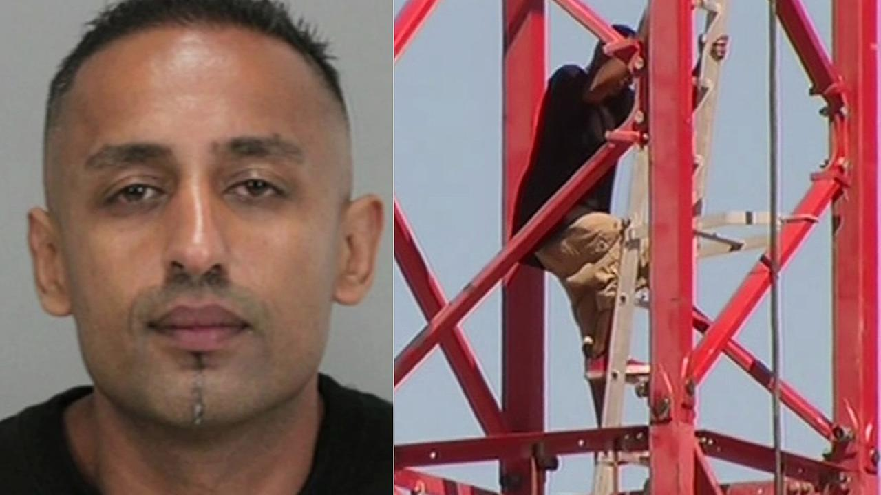 San Jose police say 39-year-old, Alam Skander, of Sacramento, was coax down from a construction crane with food, after a 14 hour standoff with police.