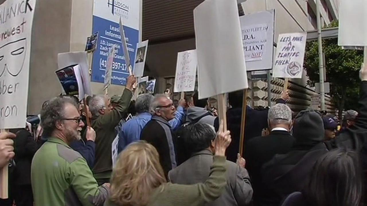 Angry San Francisco cab drivers greeted visitors from the U.S. Conference of Mayors with a picket line and a noisy protest on Monday, June 22, 2015.