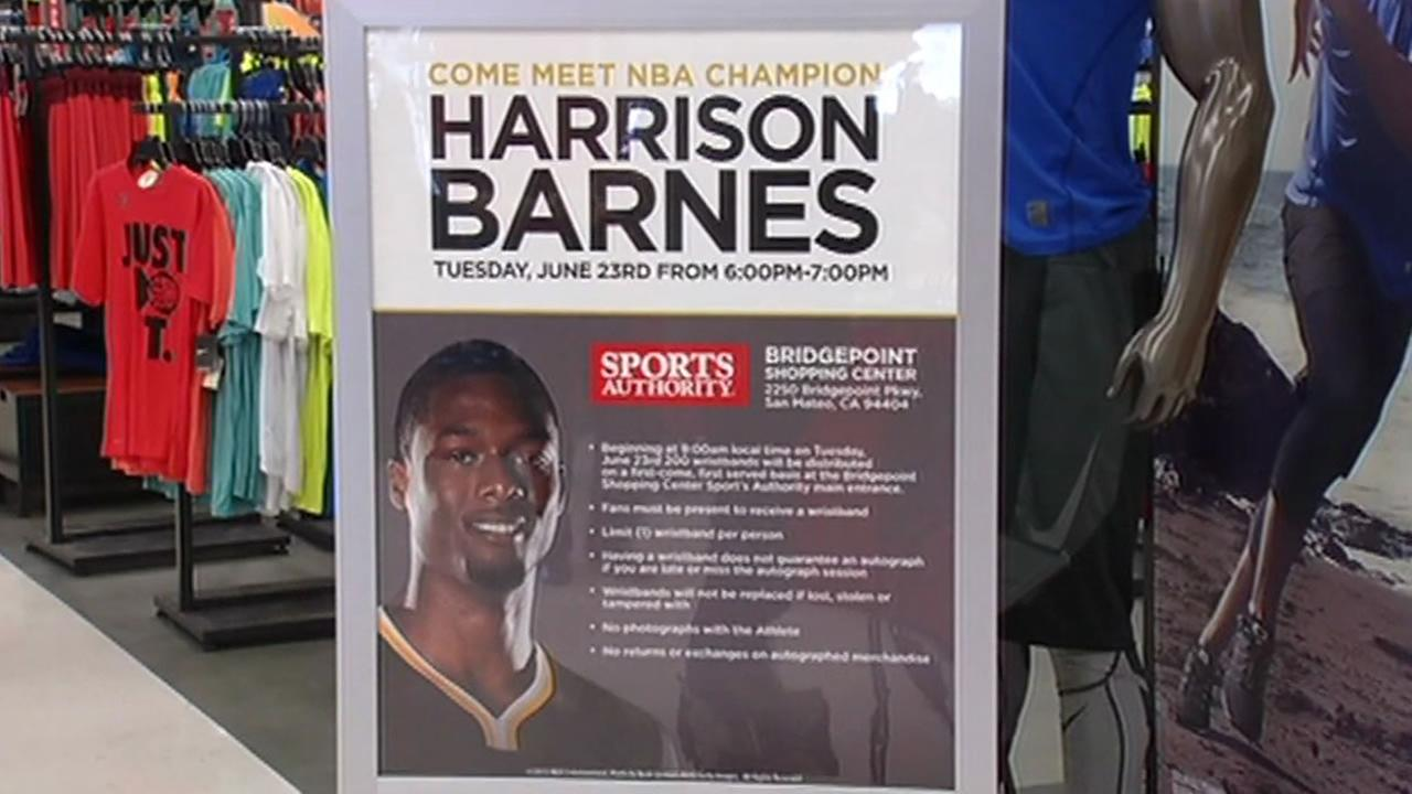 Warriors fans lined up at Sports Authority in San Mateo, Calif. for a chance to meet Harrison Barnes nine hours later on Tuesday, June 23, 2015.