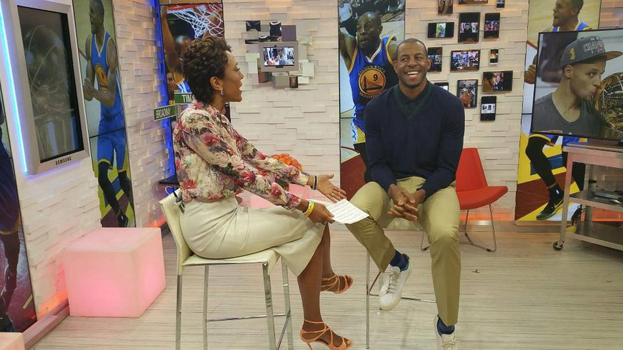 Andre Iguodala chats with Robin Roberts on Good Morning America, Wednesday, June 24, 2015.