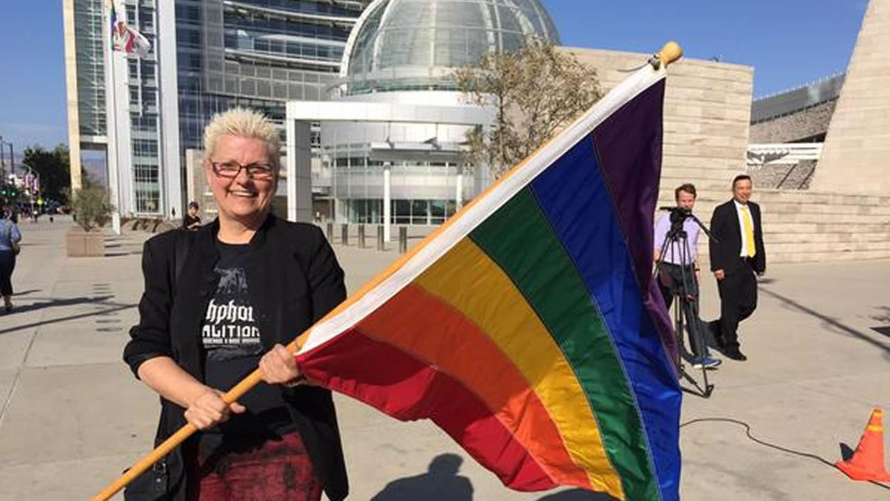 Gabrielle Antolovich, the Board Chair of the San Jose DeFrank Center, gets ready for a 6 p.m. same-sex rally and celebration in San Jose, Calif. on Friday, June 26, 2015.