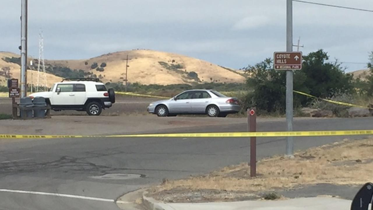 A body was found outside the entrance to Coyote Hills Regional Park in Fremont, Calif. on Sunday, June 28, 2015.