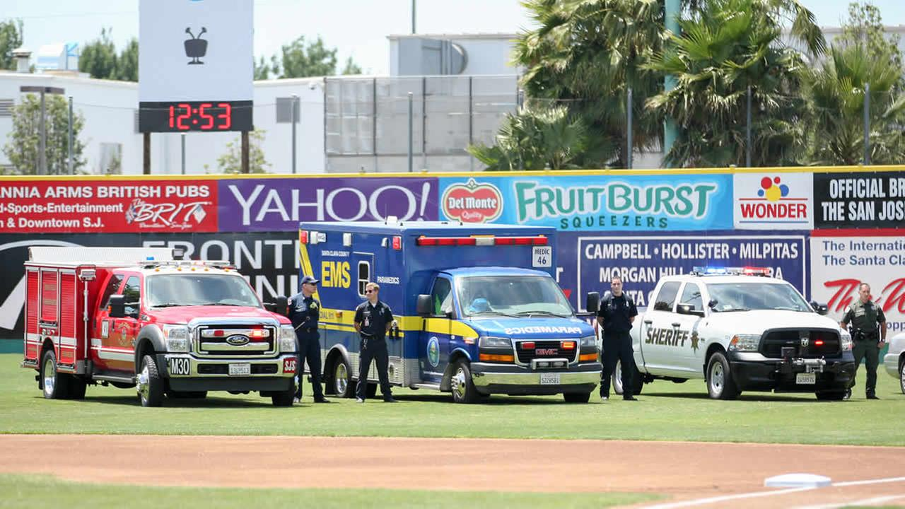 First responders and their vehicles are seen on the field at Municipal Stadium ahead of a San Jose Giants game in San Jose, Calif. on June 28, 2015.Tim Cattera/San Jose Giants