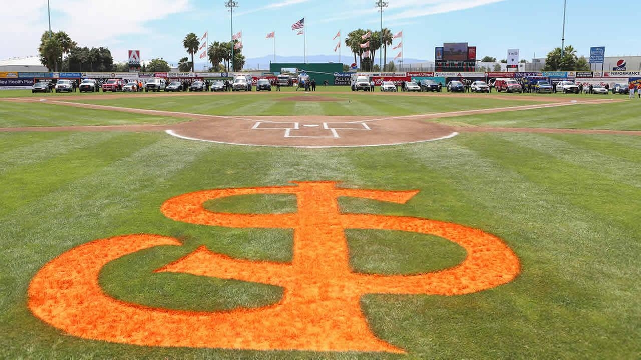 First responders and their vehicles are seen on the field at Municipal Stadium ahead of a San Jose Giants game in San Jose, Calif. on June 28, 2015.