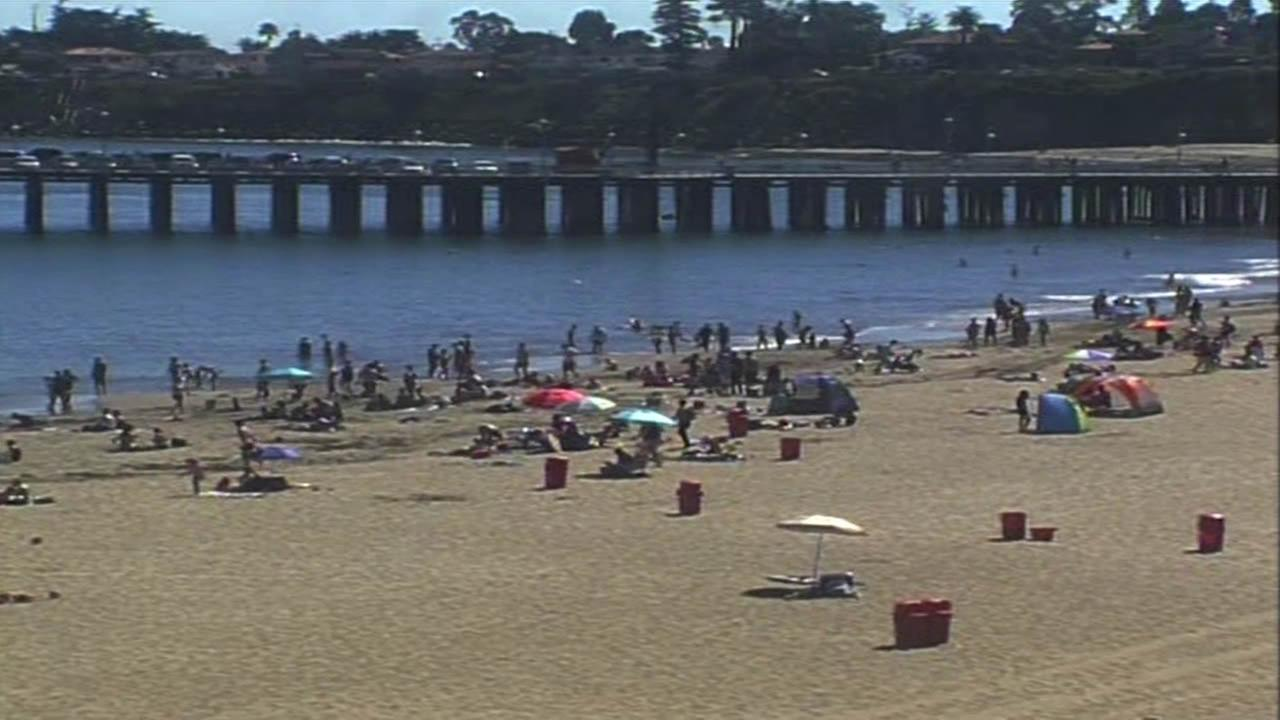 People sought relief from the heat at a beach in Santa Cruz, Calif. on Monday, June 29, 2015.