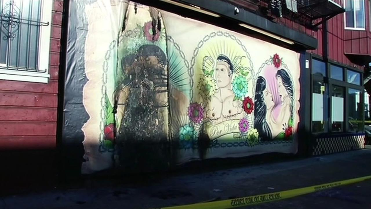 This LGBT mural at the Galeria de la Raza in San Franciscos Mission District has been defaced for a third time on Monday, June 29, 2015.
